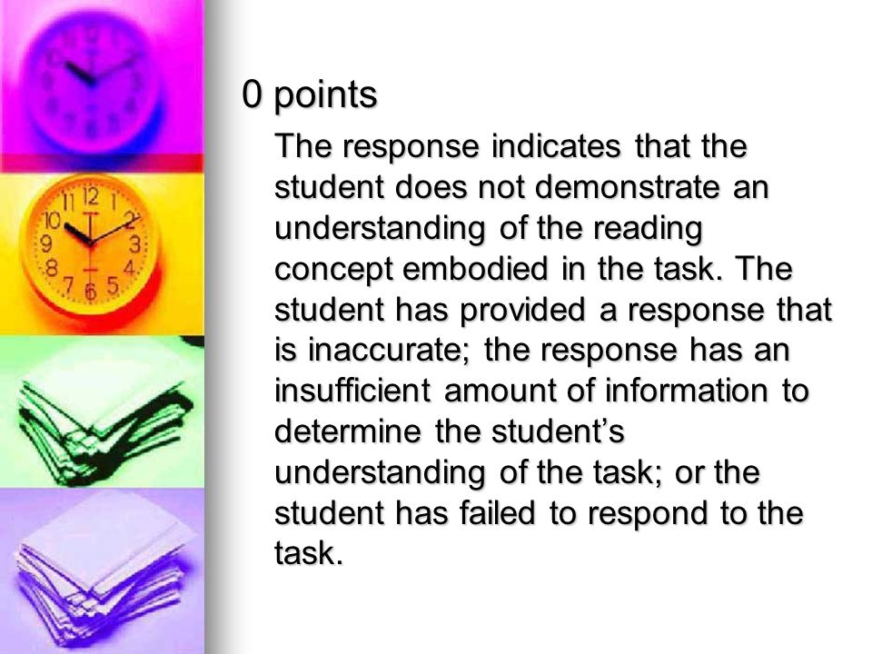 0 points The response indicates that the student does not demonstrate an understanding of the reading concept embodied in the task. The student has pr