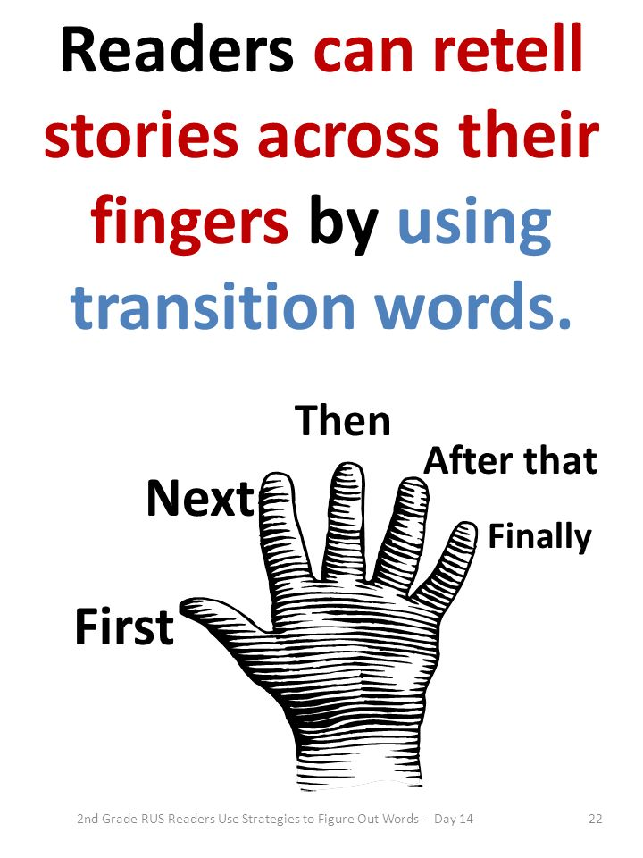 22 First Next Then After that Finally Readers can retell stories across their fingers by using transition words. 2nd Grade RUS Readers Use Strategies