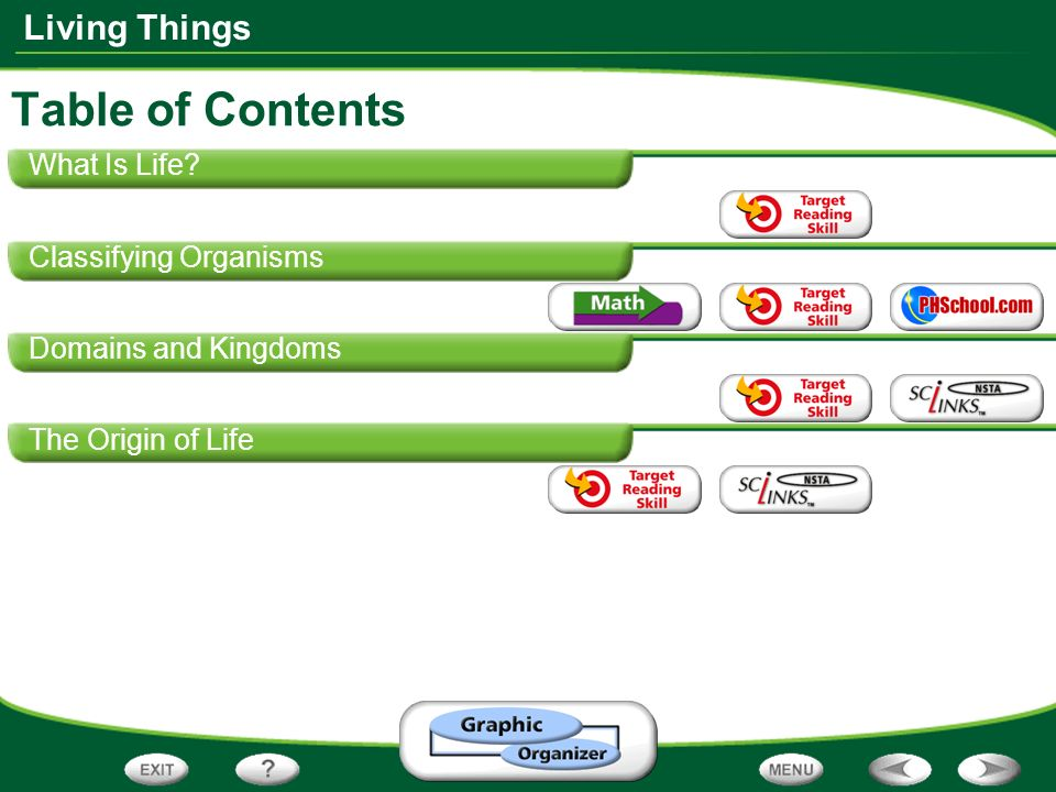 Living Things What Is Life? Classifying Organisms Domains and Kingdoms The Origin of Life Table of Contents