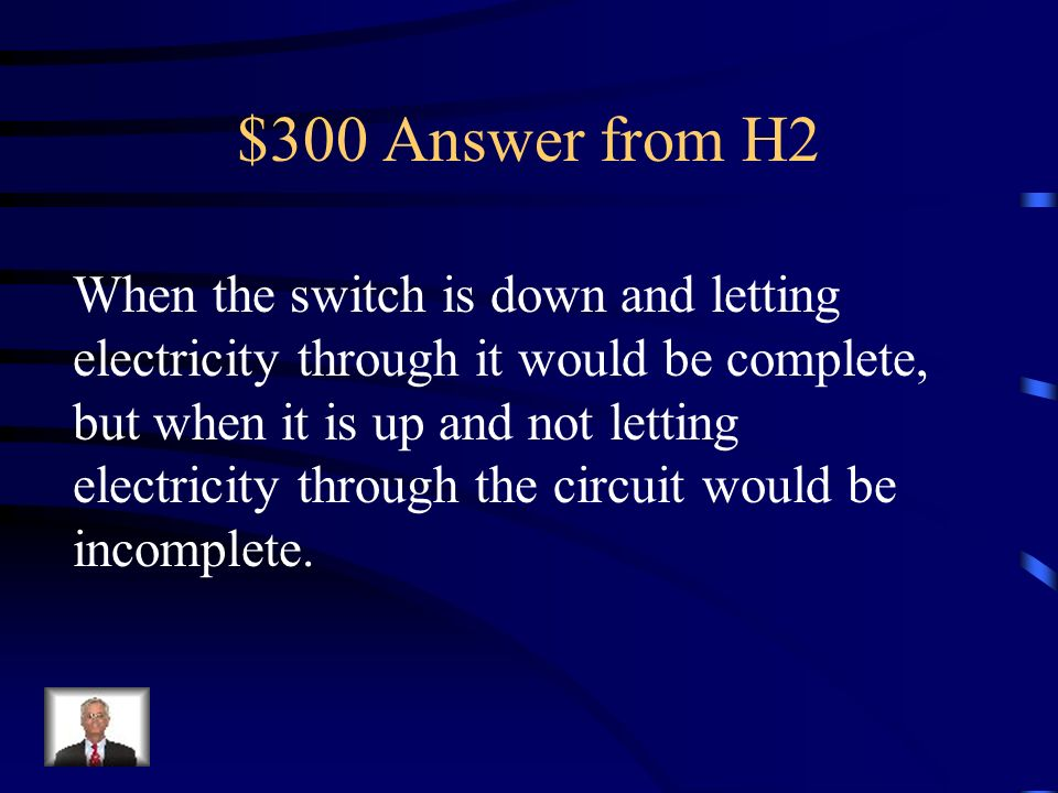 $300 Question from H2 Application: A battery switch and bulb are connected by wires. Explain when the circuit would be complete and when it would be i