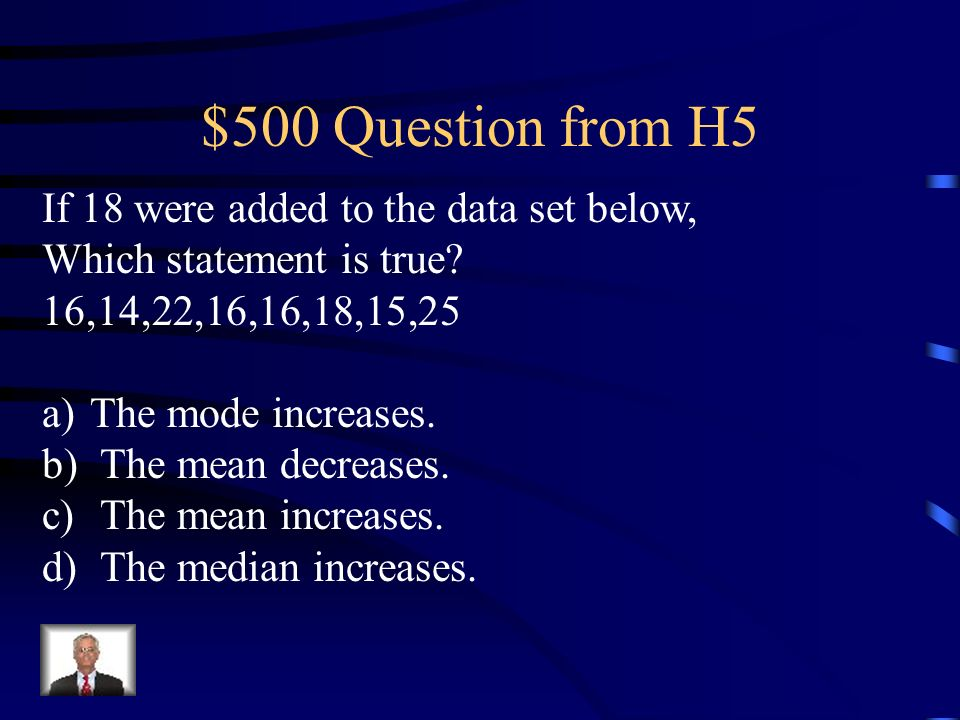 $400 Answer from H5 Using 50, 55, 65, 70, 80, 90, 100, 100 Find: Mean= 600/8= 75 Median= 70+80=150/2=75 Mode=_100__________
