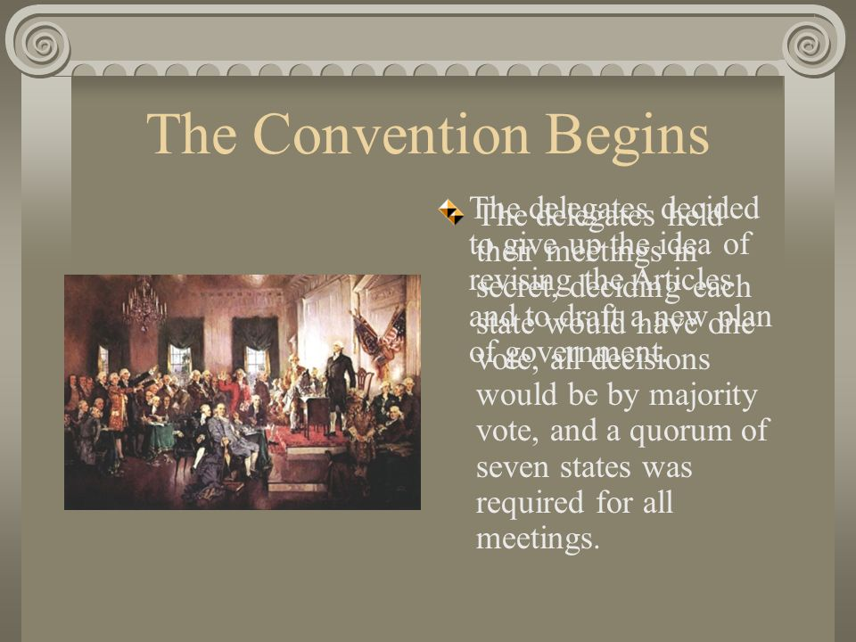 The Convention Begins The delegates held their meetings in secret, deciding each state would have one vote, all decisions would be by majority vote, and a quorum of seven states was required for all meetings.