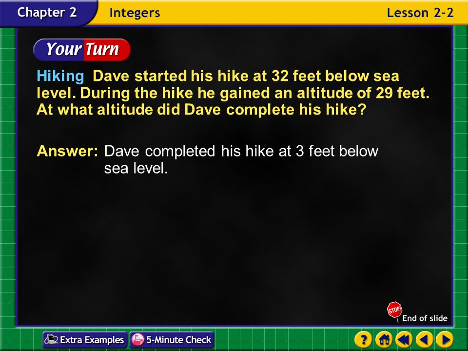 Example 2-5c Hiking Dave started his hike at 32 feet below sea level. During the hike he gained an altitude of 29 feet. At what altitude did Dave comp
