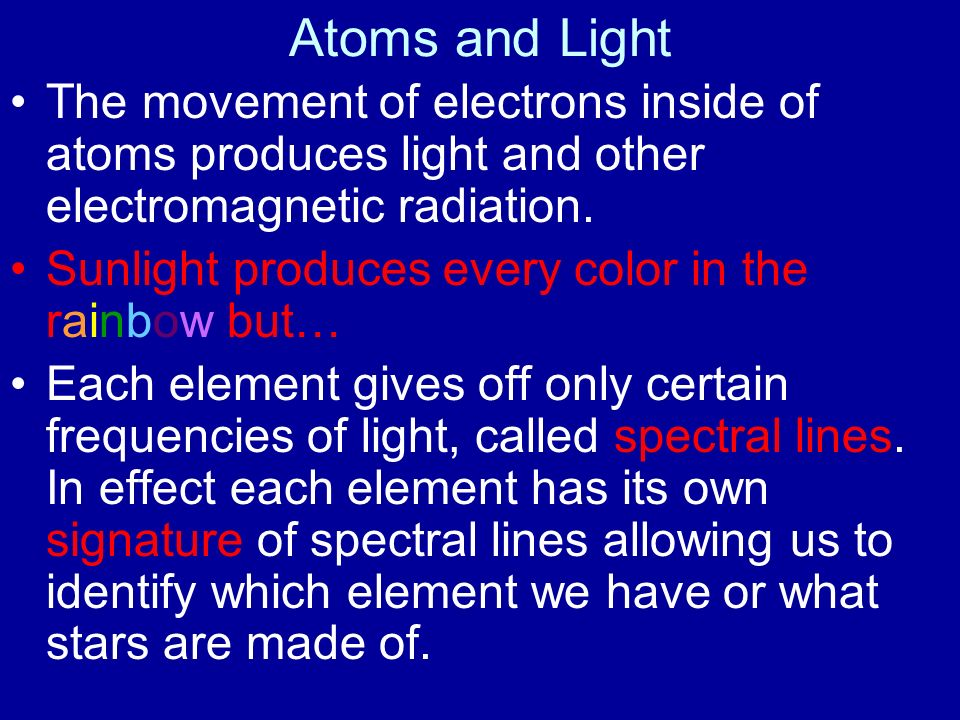 Atoms and Light The movement of electrons inside of atoms produces light and other electromagnetic radiation. Sunlight produces every color in the rai