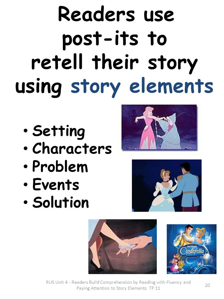 Readers use post-its to retell their story using story elements Setting Characters Problem Events Solution RUS Unit 4 - Readers Build Comprehension by