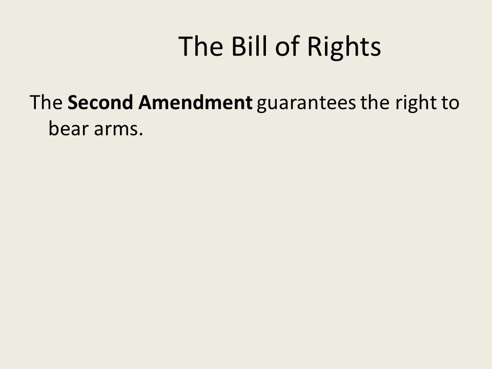 The Bill of Rights The Third Amendment guarantees soldiers cannot be quartered in any house.