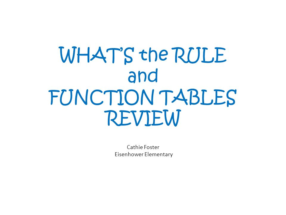 WHATS the RULE and FUNCTION TABLES REVIEW Cathie Foster Eisenhower Elementary