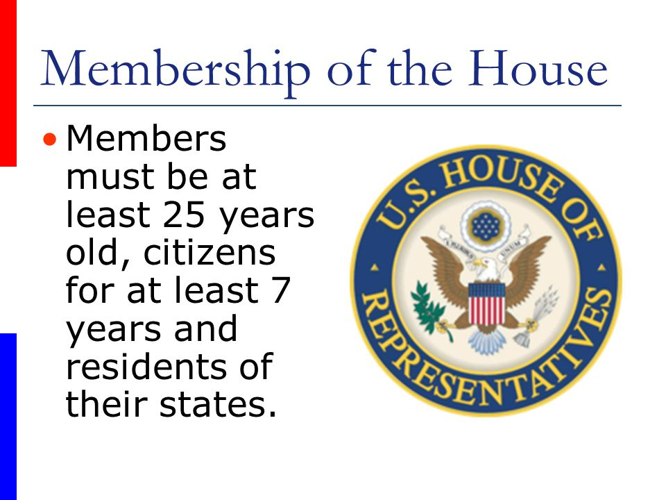 Membership of the House Members must be at least 25 years old, citizens for at least 7 years and residents of their states.