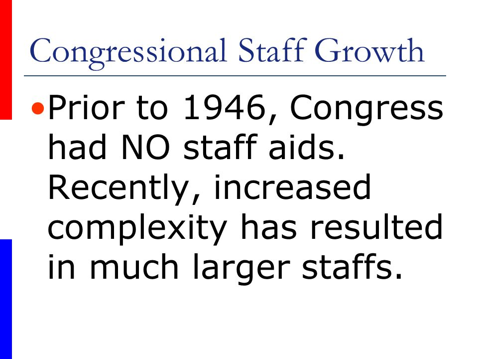 Congressional Staff Growth Prior to 1946, Congress had NO staff aids. Recently, increased complexity has resulted in much larger staffs.