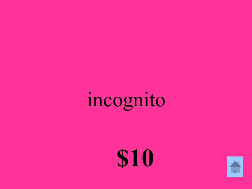 incognito $10