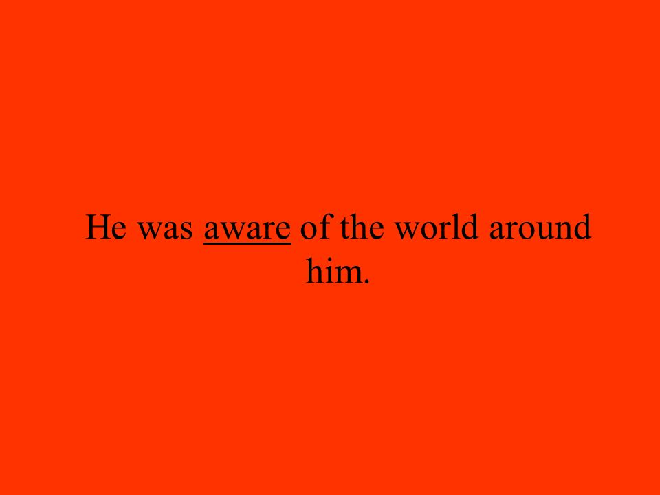 He was aware of the world around him.