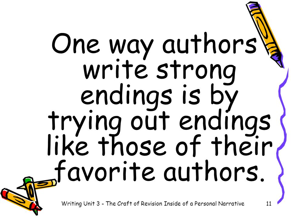 One way authors write strong endings is by trying out endings like those of their favorite authors. 11Writing Unit 3 - The Craft of Revision Inside of