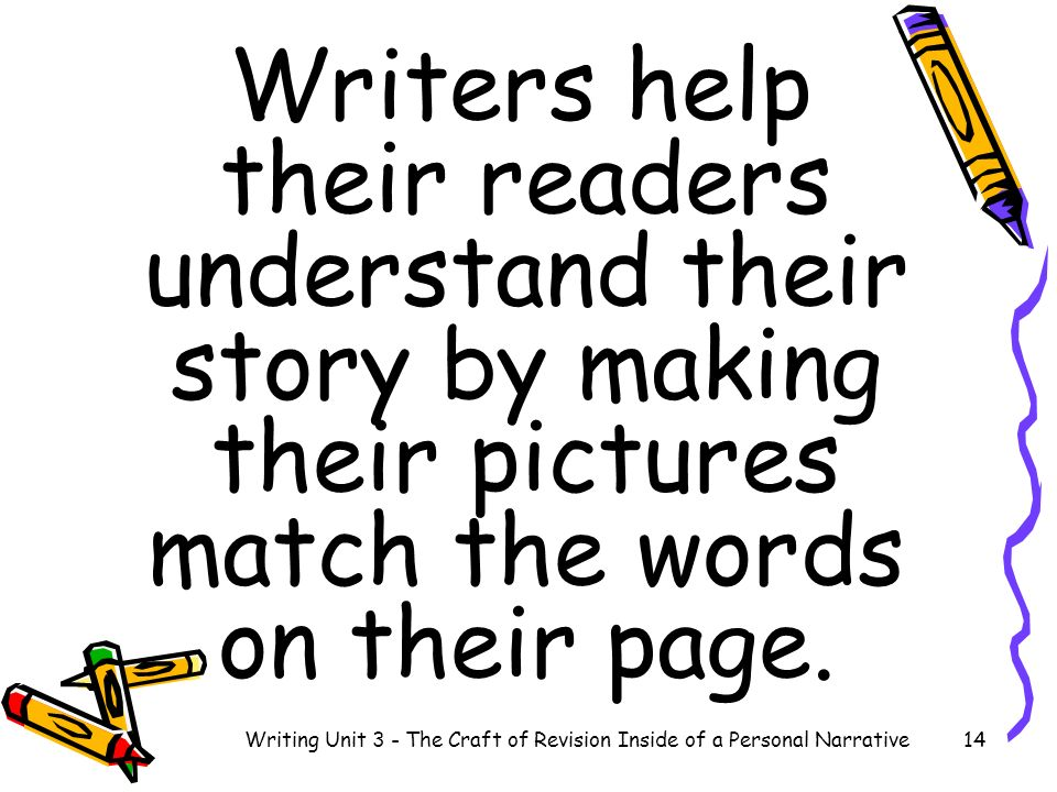 Writers help their readers understand their story by making their pictures match the words on their page. 14Writing Unit 3 - The Craft of Revision Ins