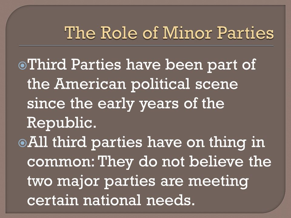 Third Parties have been part of the American political scene since the early years of the Republic. All third parties have on thing in common: They do