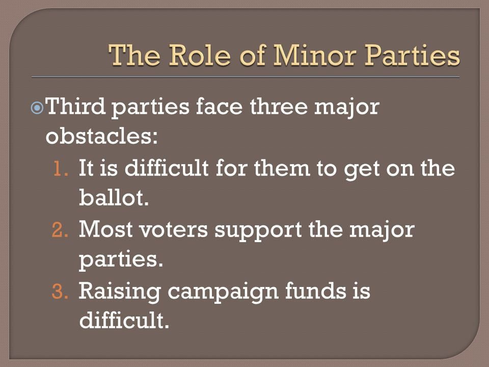 Third parties face three major obstacles: 1. It is difficult for them to get on the ballot. 2. Most voters support the major parties. 3. Raising campa