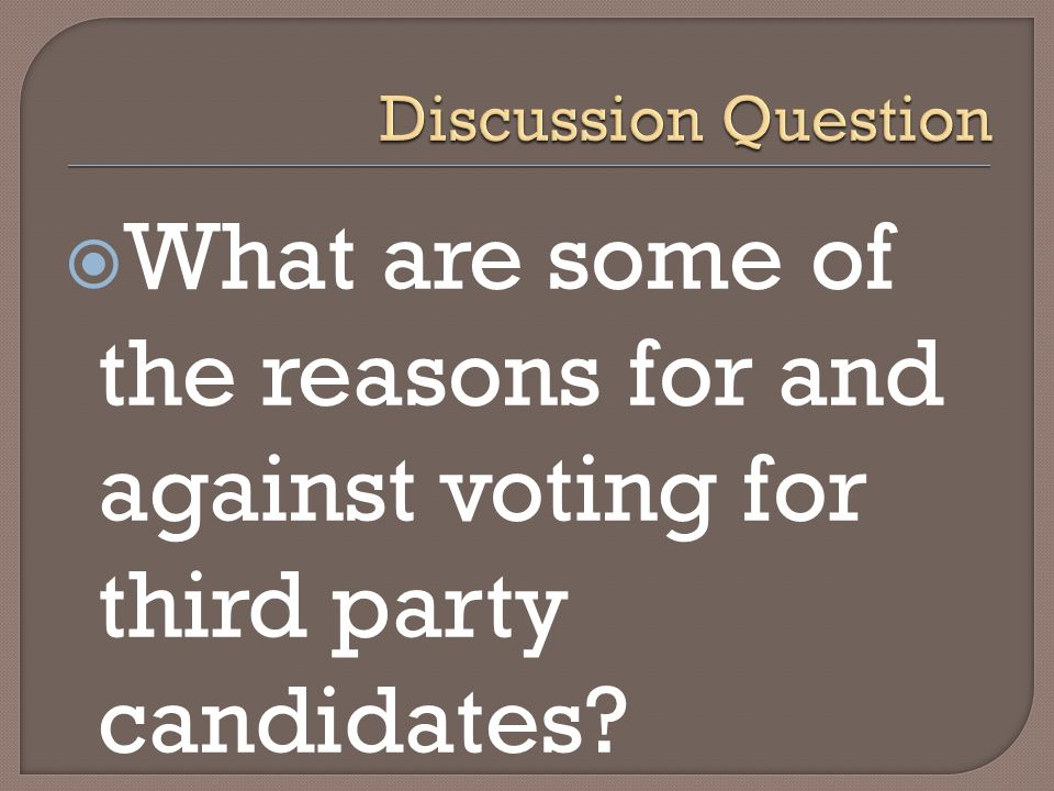 What are some of the reasons for and against voting for third party candidates?