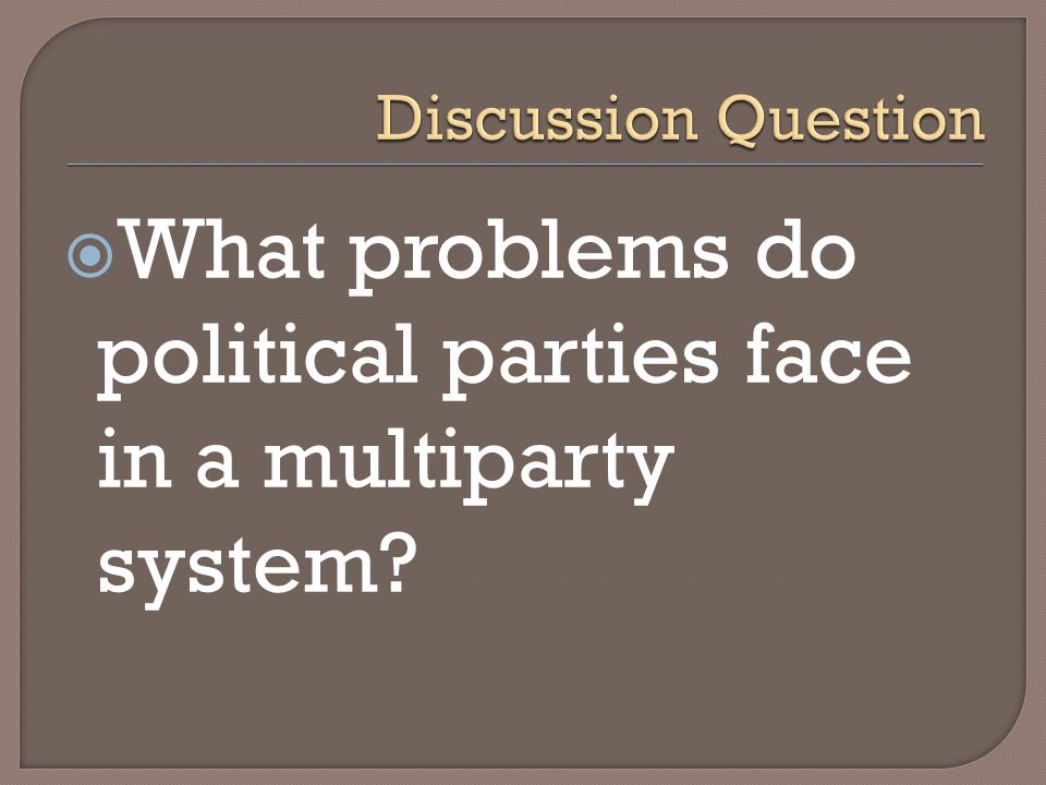 What problems do political parties face in a multiparty system?