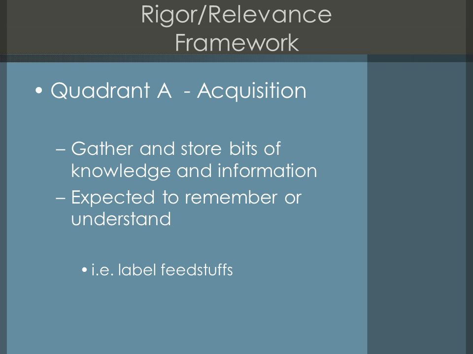Rigor/Relevance Framework Quadrant A - Acquisition –Gather and store bits of knowledge and information –Expected to remember or understand i.e.