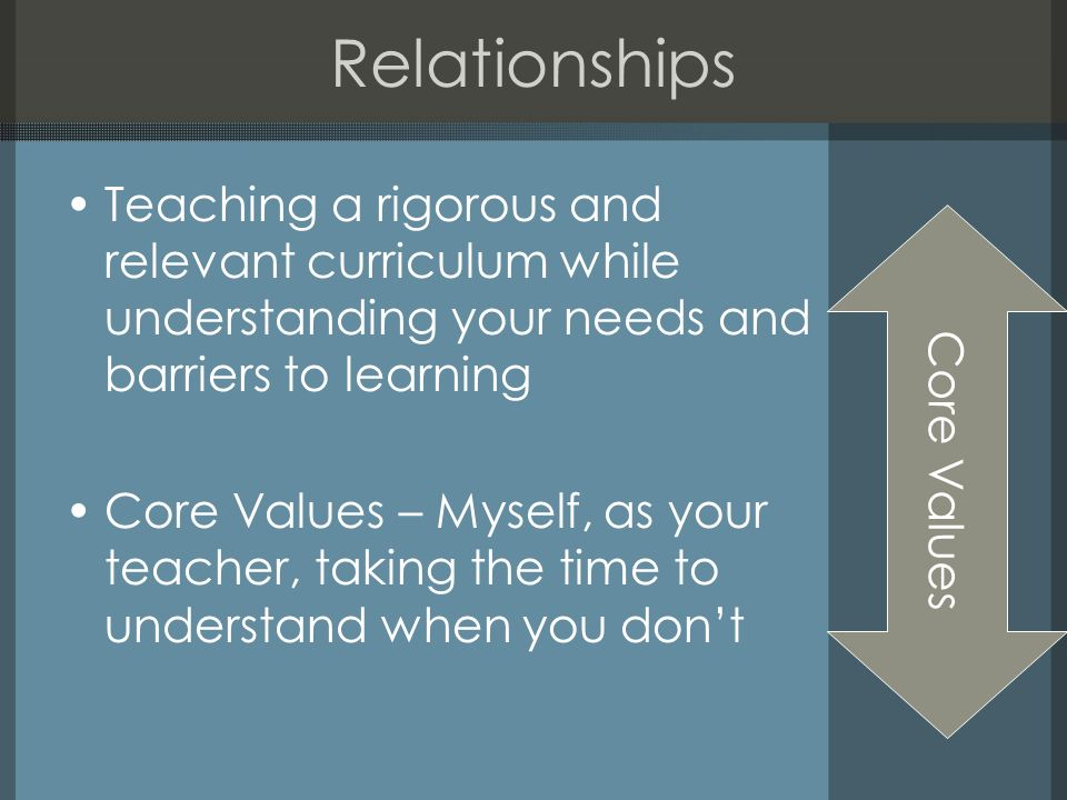 Relationships Teaching a rigorous and relevant curriculum while understanding your needs and barriers to learning Core Values – Myself, as your teacher, taking the time to understand when you dont Core Values
