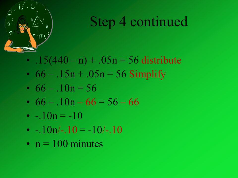 Step 4 solve the system d + n = 440.15d +.05n = 56 d + n – n = 440 – n.15d +.05n = 56 d = 440 – n.15d +.05n = 56.15(440 – n) +.05n = 56
