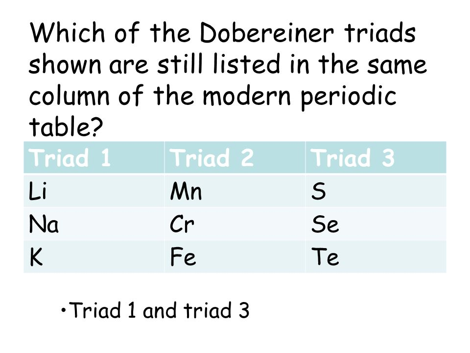 Which of the Dobereiner triads shown are still listed in the same column of the modern periodic table? Triad 1Triad 2Triad 3 LiMnS NaCrSe KFeTe Triad