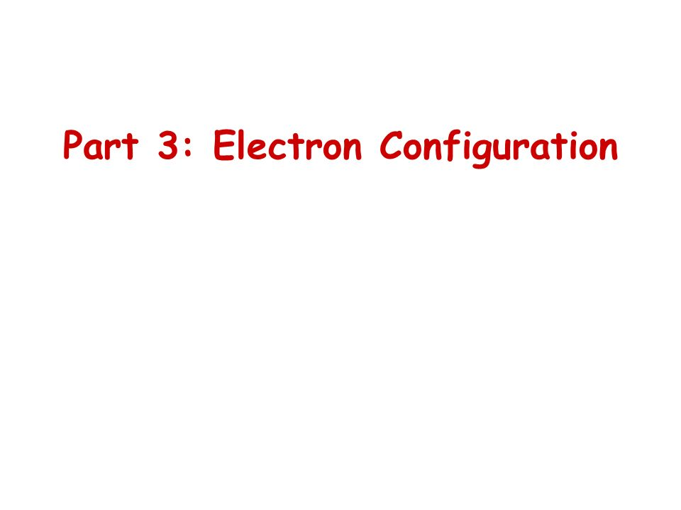 Part 3: Electron Configuration