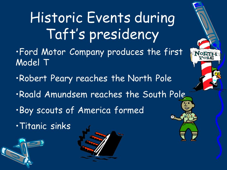 Historic Events during Tafts presidency Ford Motor Company produces the first Model T Robert Peary reaches the North Pole Roald Amundsem reaches the S
