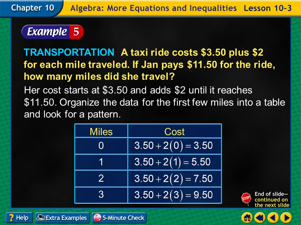 Example 3-5a TRANSPORTATION A taxi ride costs $3.50 plus $2 for each mile traveled.