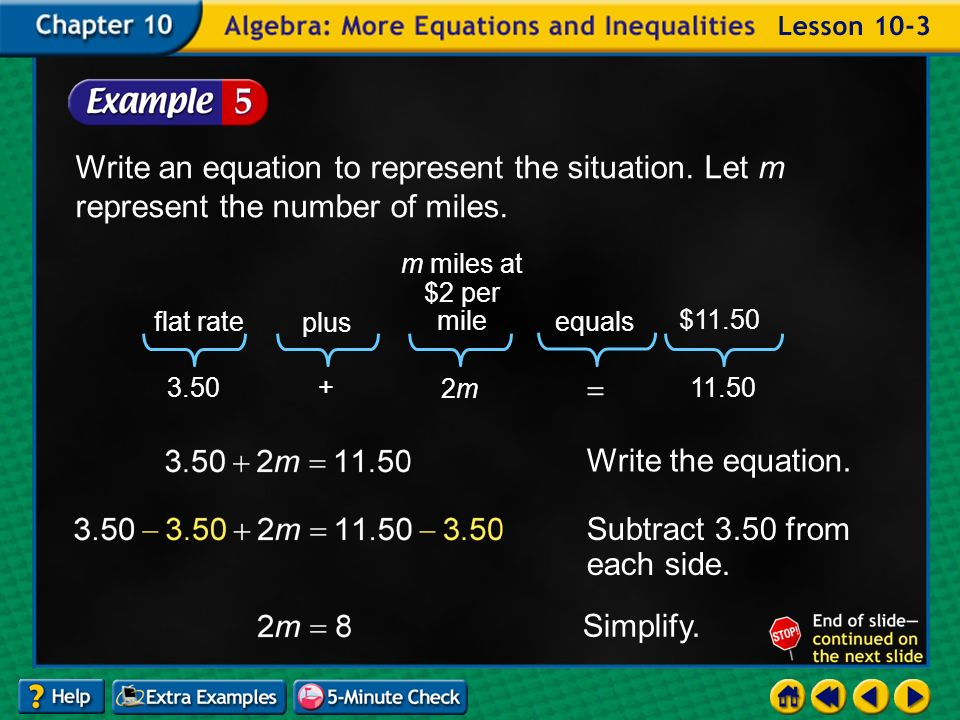 Example 3-5a Write an equation to represent the situation.