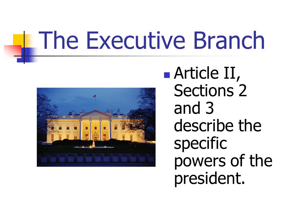 The Executive Branch Article II, Sections 2 and 3 describe the specific powers of the president.