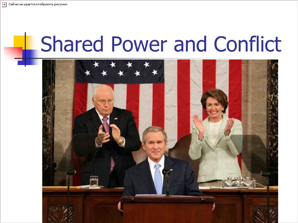 Shared Power and Conflict The executive and legislative branches must cooperate to produce effective policies, but some conflicts are inevitable. The