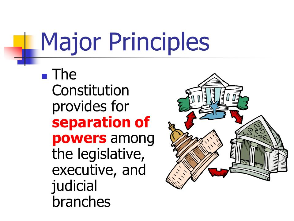 Major Principles Checks and balances, the process by which each branch of government exercises some powers over the others, guarantees that no branch of government will become too powerful.