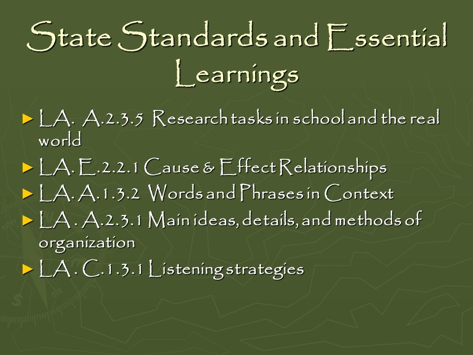 State Standards and Essential Learnings LA. A.2.3.5 Research tasks in school and the real world LA. A.2.3.5 Research tasks in school and the real worl