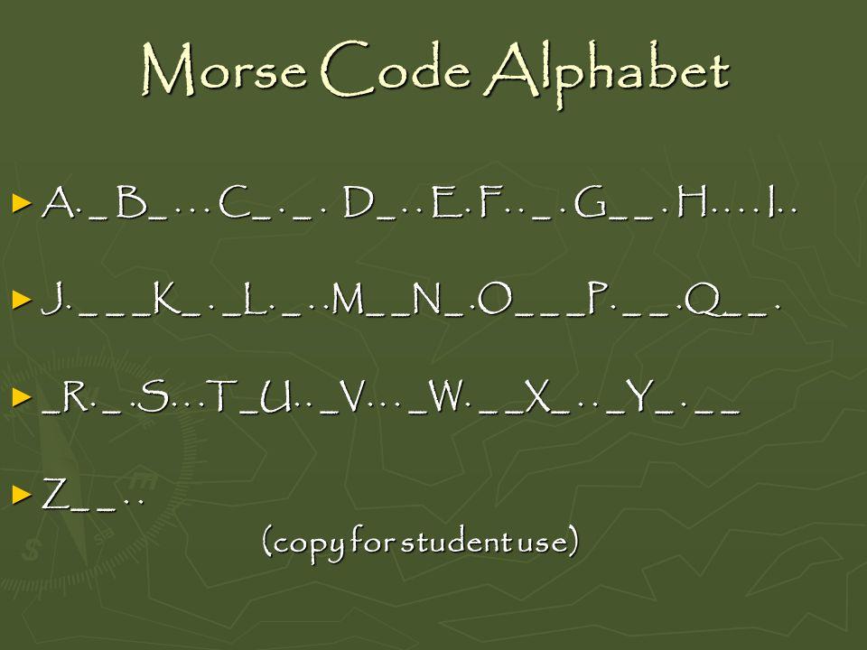 Morse Code Alphabet A. _ B_... C_. _. D_.. E. F.. _. G_ _. H.... I.. A. _ B_... C_. _. D_.. E. F.. _. G_ _. H.... I.. J. _ _ _K_. _L. _..M_ _N_.O_ _ _