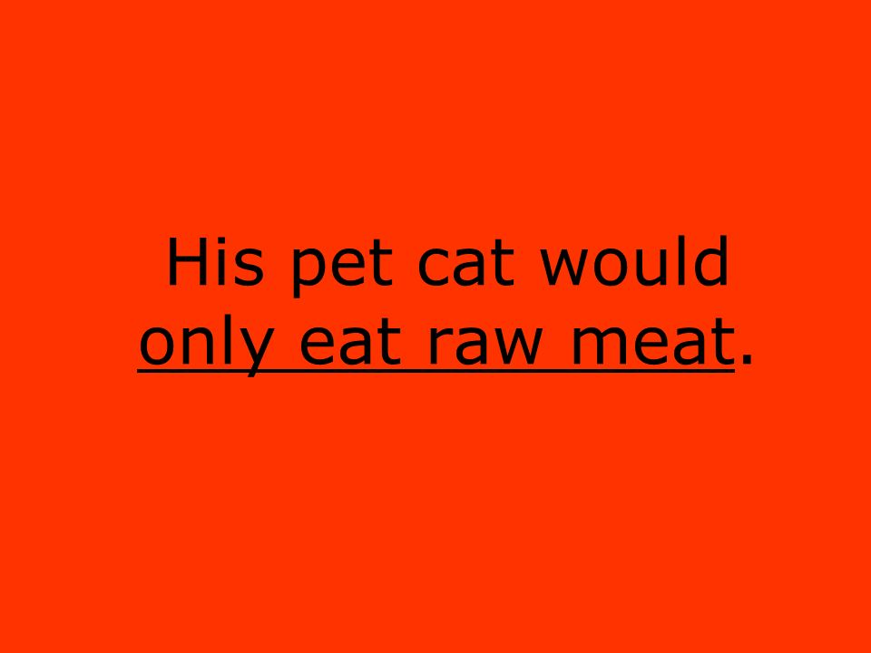 His pet cat would only eat raw meat.