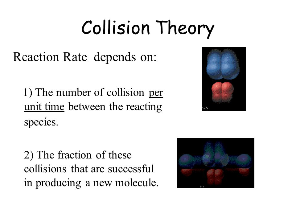 Collision Theory Reaction Rate depends on: 1) The number of collision per unit time between the reacting species. 2) The fraction of these collisions