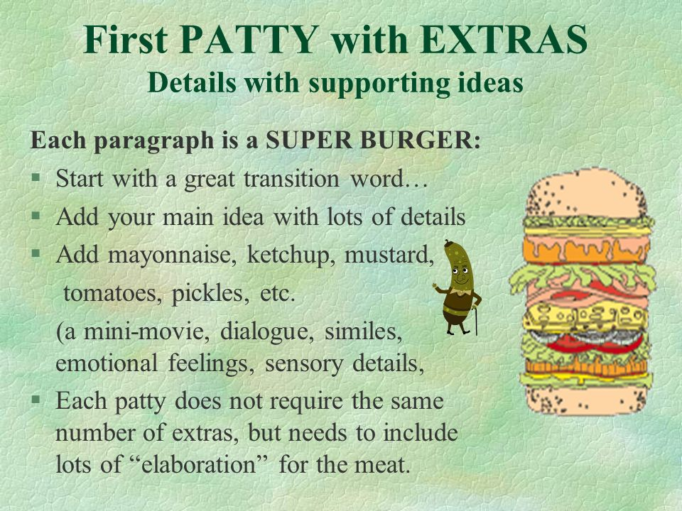 First PATTY with EXTRAS Details with supporting ideas Each paragraph is a SUPER BURGER: §Start with a great transition word… §Add your main idea with lots of details §Add mayonnaise, ketchup, mustard, tomatoes, pickles, etc.