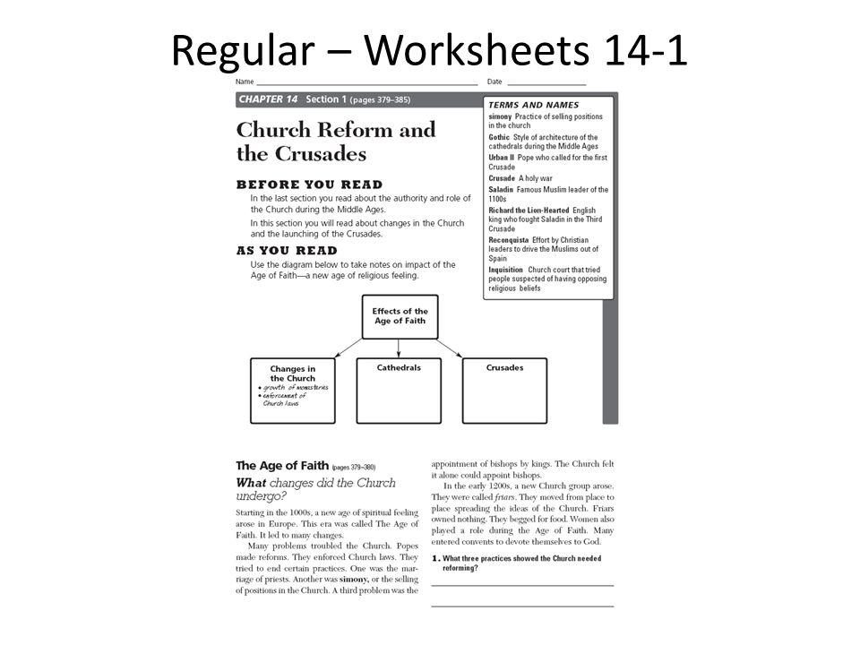 Regular – Worksheets 14-1