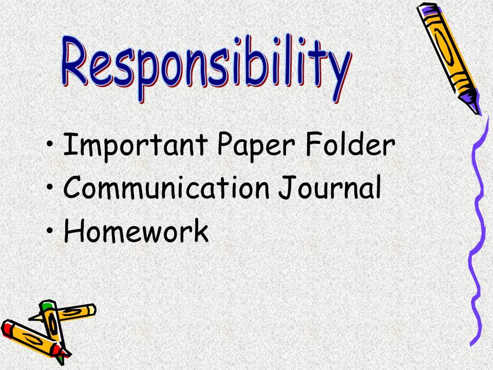 Important Paper Folder Communication Journal Homework