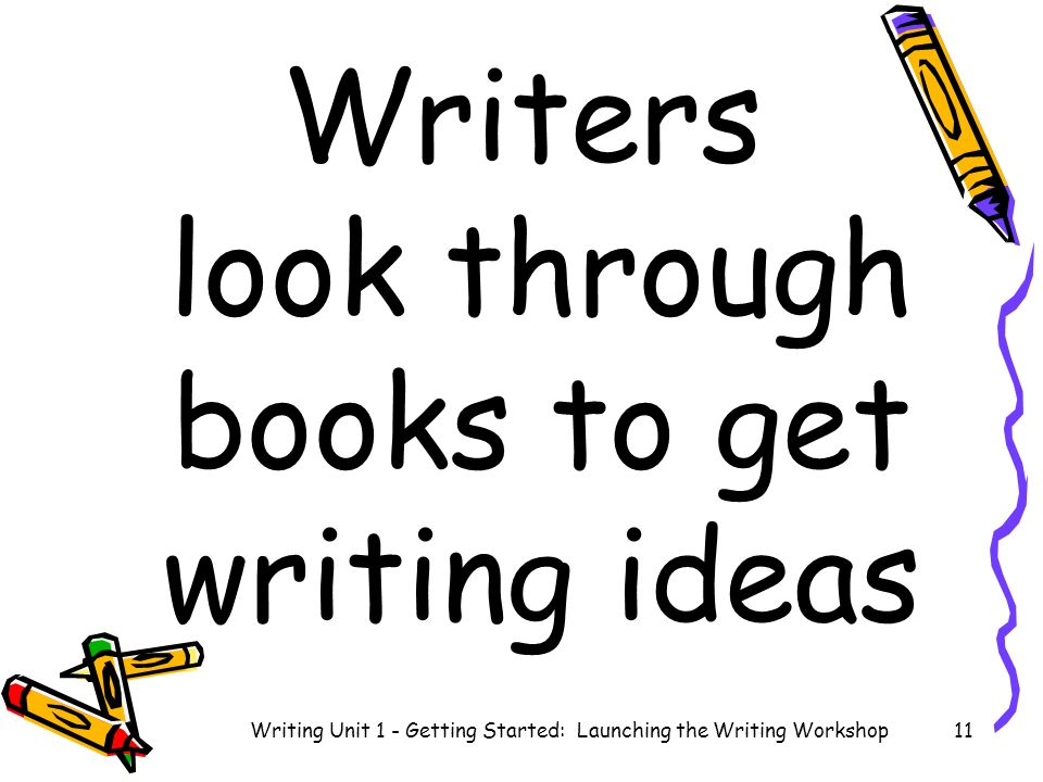 Writers look through books to get writing ideas Writing Unit 1 - Getting Started: Launching the Writing Workshop11