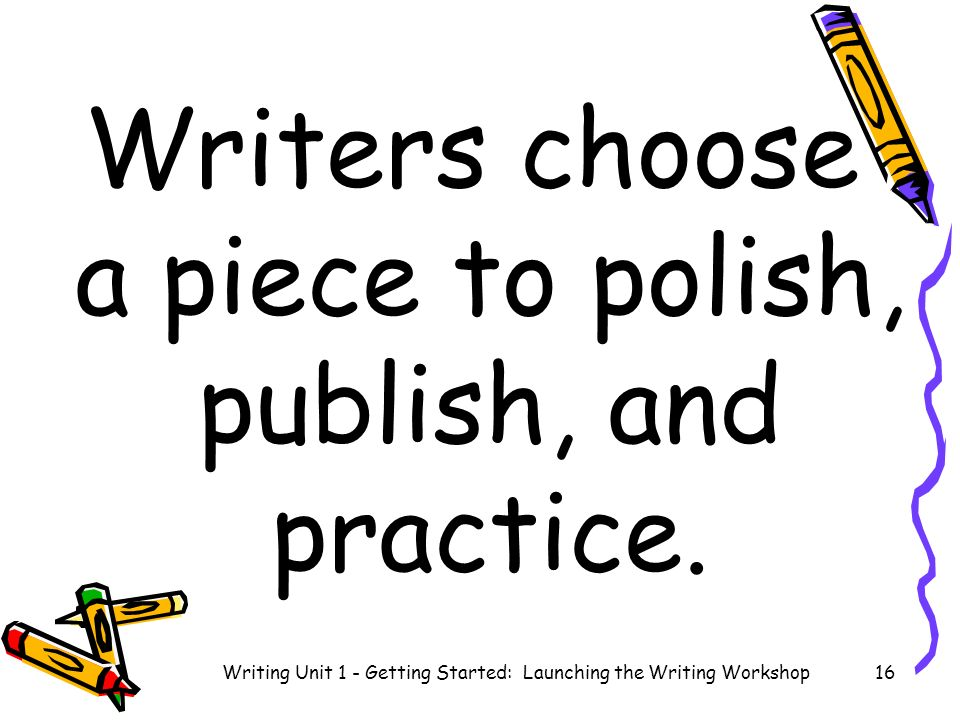 Writers choose a piece to polish, publish, and practice.