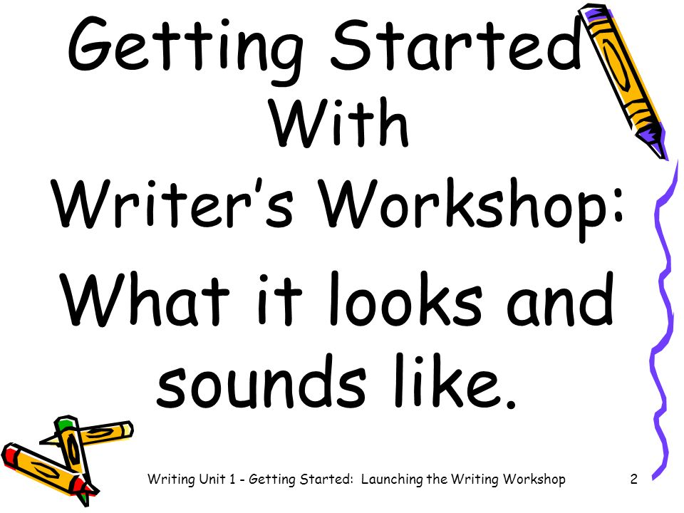 Getting Started With Writers Workshop : What it looks and sounds like.