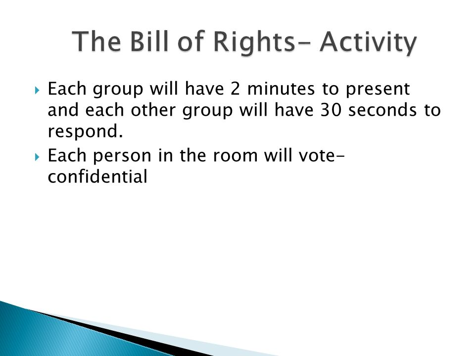 Each group will have 2 minutes to present and each other group will have 30 seconds to respond. Each person in the room will vote- confidential