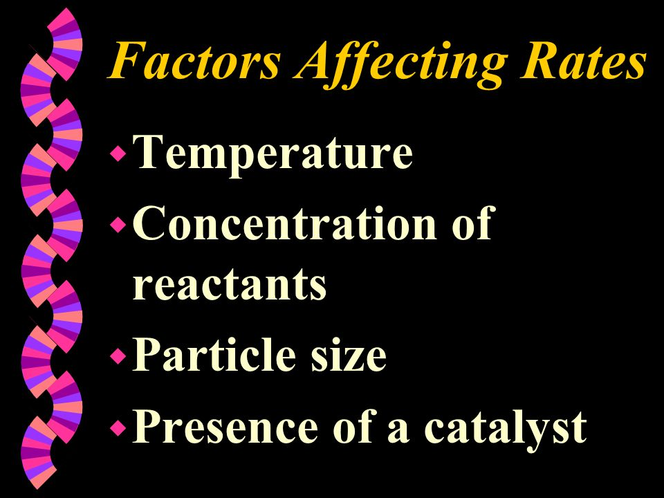 Factors Affecting Rates w Temperature w Concentration of reactants w Particle size w Presence of a catalyst