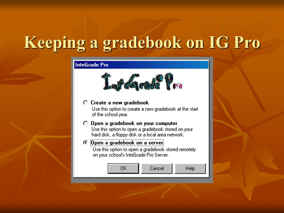 Keeping a gradebook on IG Pro