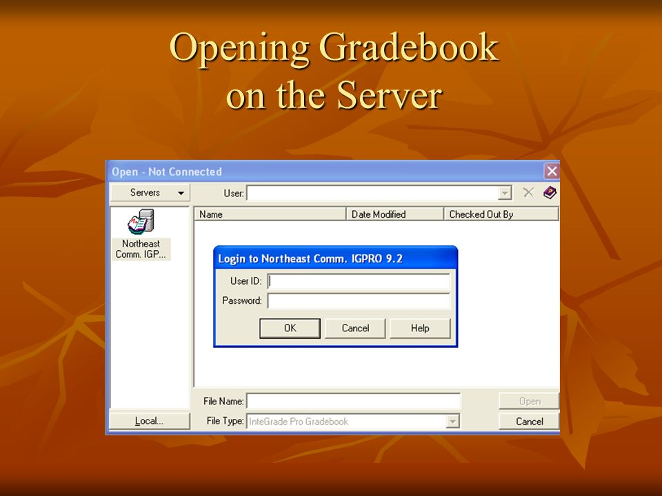 Opening Gradebook on the Server