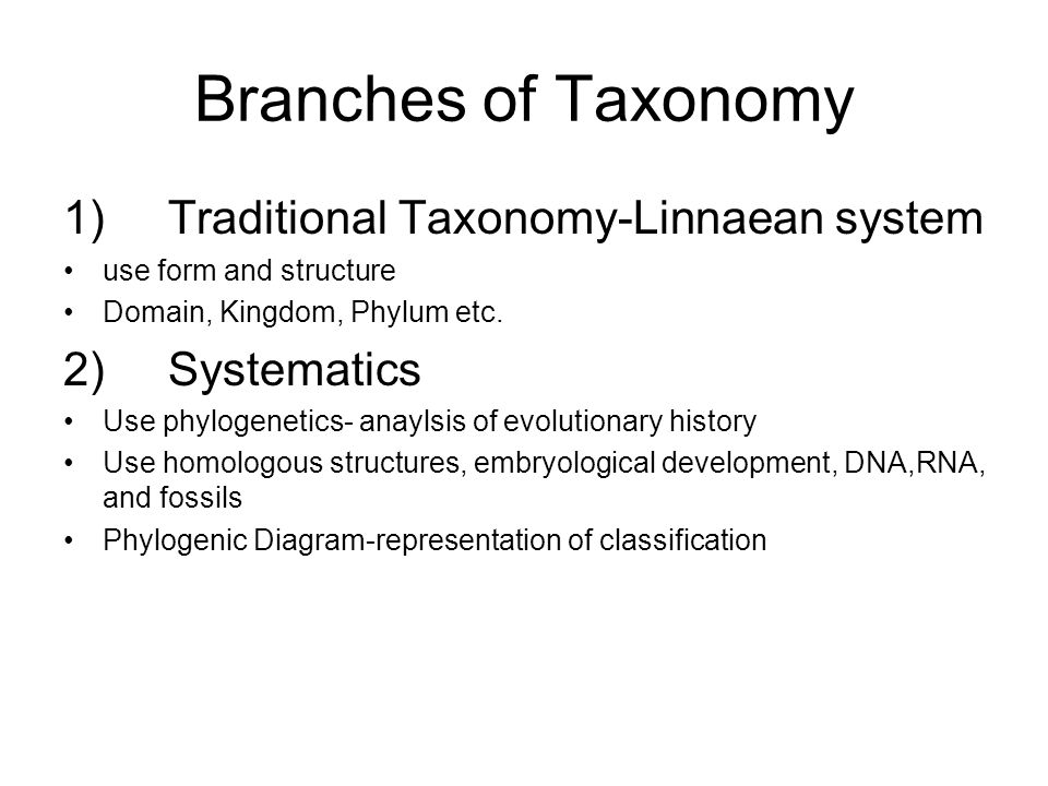 Branches of Taxonomy 1)Traditional Taxonomy-Linnaean system use form and structure Domain, Kingdom, Phylum etc. 2)Systematics Use phylogenetics- anayl