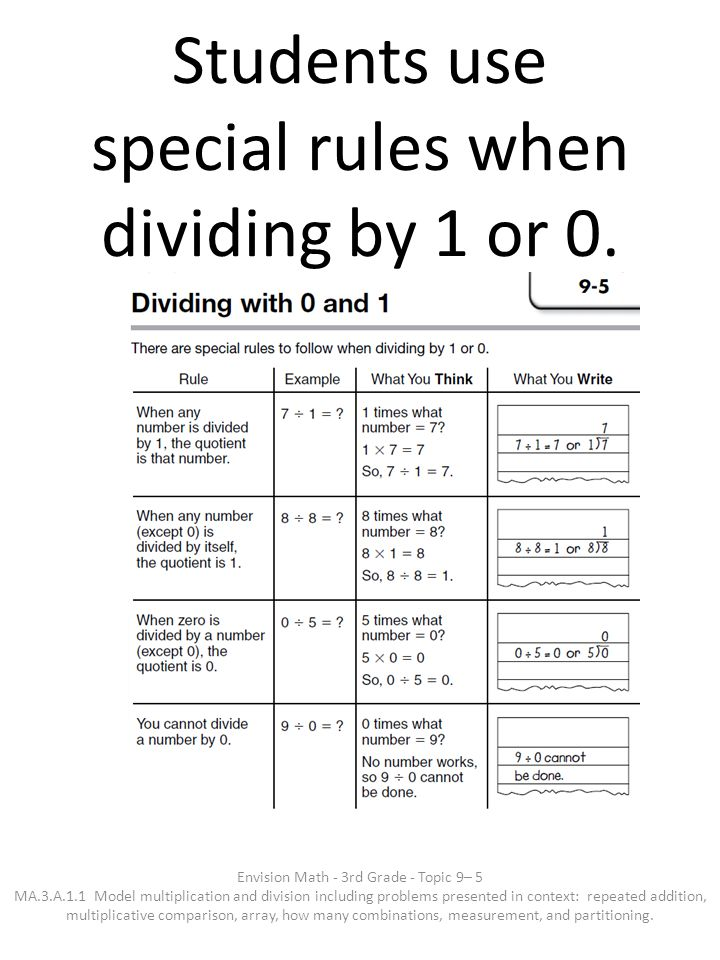 Students use special rules when dividing by 1 or 0. Envision Math - 3rd Grade - Topic 9– 5 MA.3.A.1.1 Model multiplication and division including prob
