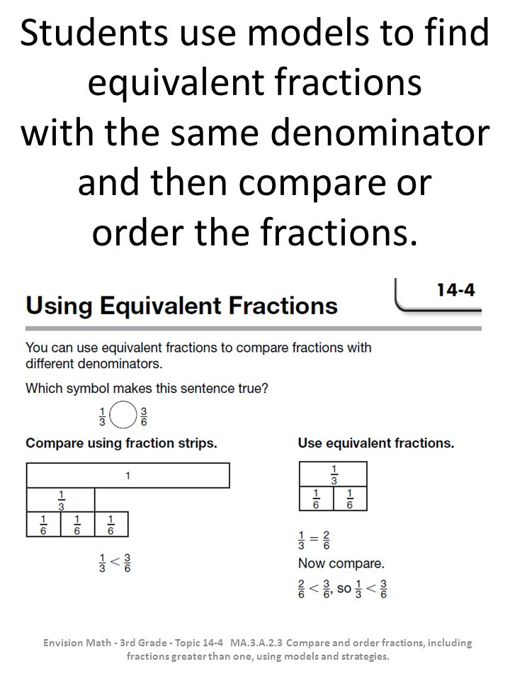 Students use models to find equivalent fractions with the same denominator and then compare or order the fractions. Envision Math - 3rd Grade - Topic