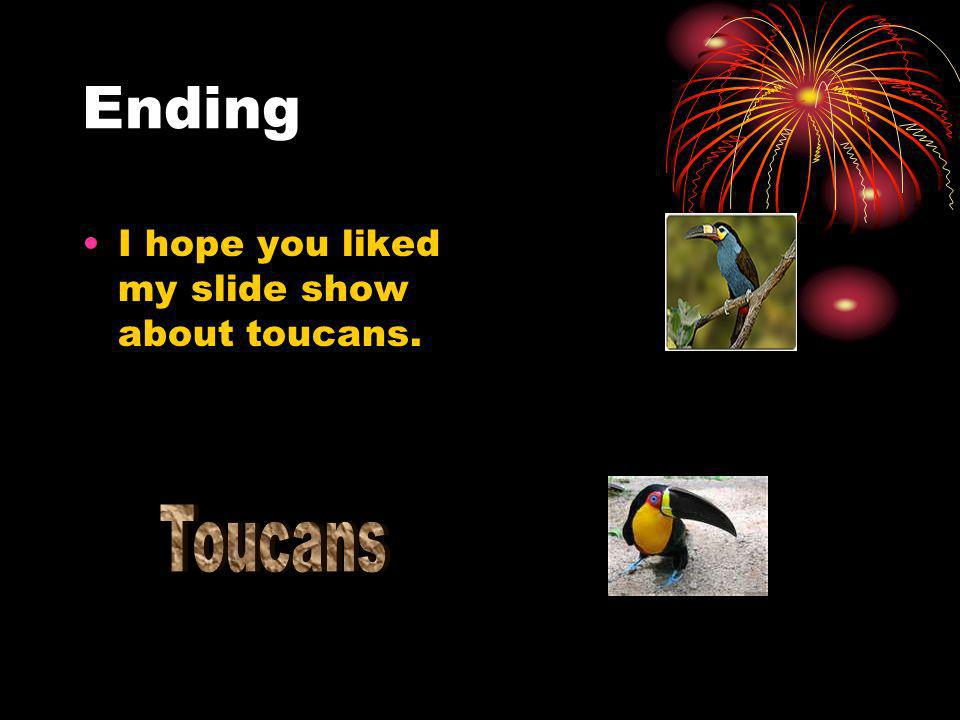 Ending I hope you liked my slide show about toucans.